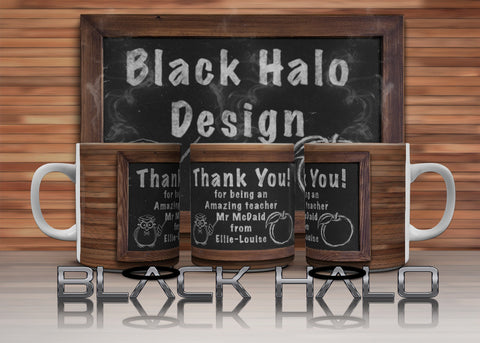 Chalk Board Personalised Thank You Teacher 10oz Ceramic Mug - Black Halo Design