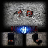 ROYAL PIONEER CORPS (PIONEERS): POPPY FIELD (ARMY) METAL SQUARE CUFFLINKS (YEOMANRY/SOMME) - Black Halo Design  - 2