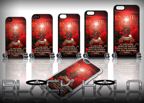 Personalised Royal Pioneer Corps: Tower Badge Poppy Sunset Design Case for Choice of iPhone Models #2 - Black Halo Design