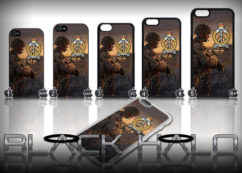 Royal Pioneer Corps Case/Cover for choice of Apple iPhone 4-6s Plus :Army - Black Halo Design
