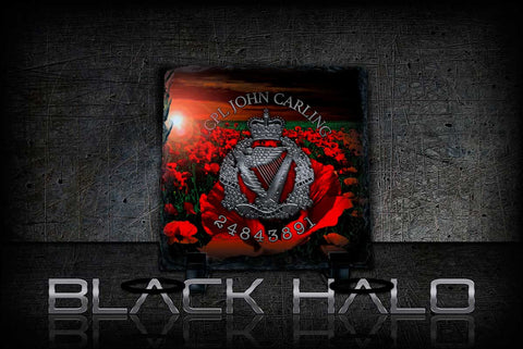 The Royal Irish Regiment (RIR) Personalised Natural Rock Slate (Army) - Black Halo Design