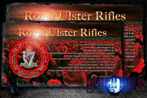 Royal Ulster Rifles: Lest We Forget Natural Rock Slate #POPPY