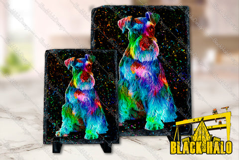 Schnauzer artwork on Natural Rock Slate with Stands