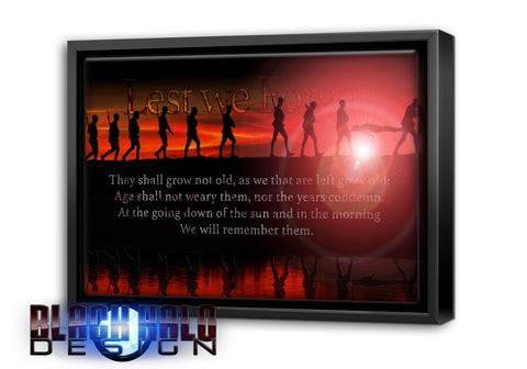 Lest We Forget Somme Soldiers Timber Framed Canvas with black floating shadow frame