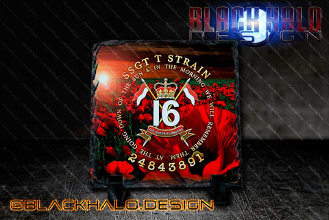 Personalised: 16 The Queens Lancers Personalised Natural Rock Slate - Black Halo Design