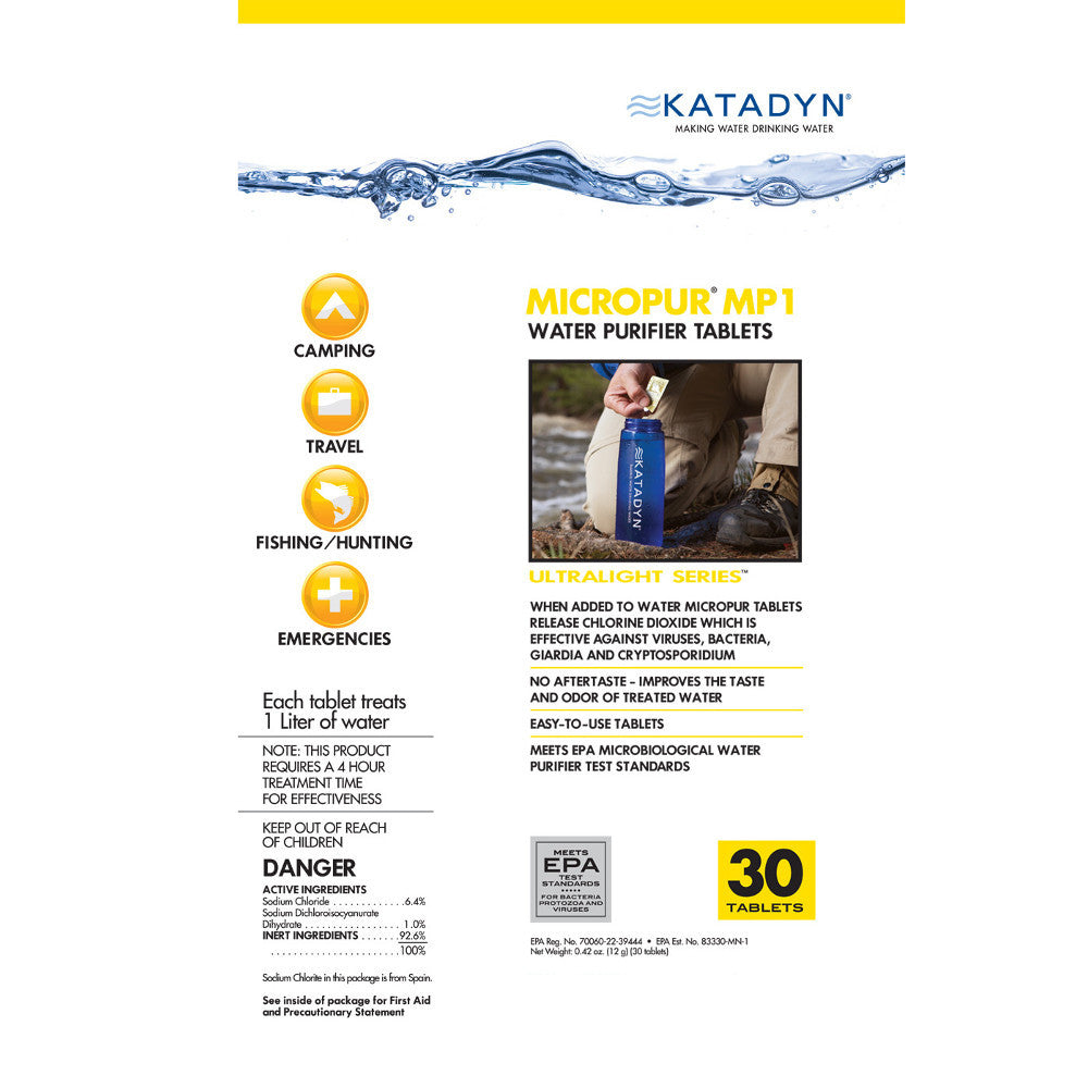 Katadyn Micropur MP1 Purification Tablets - 30 Pack