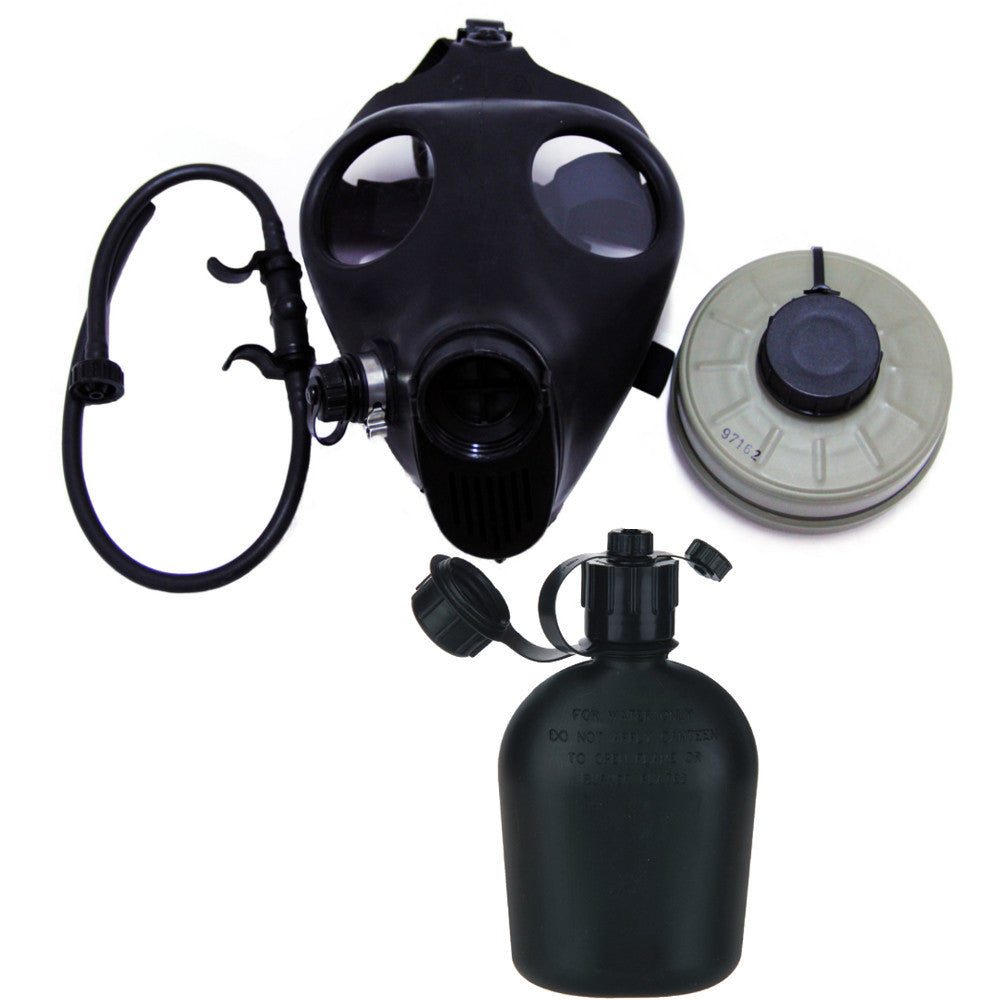Israeli Adult Civilian Gas Mask w/ Nato Filter and Hydration Canteen