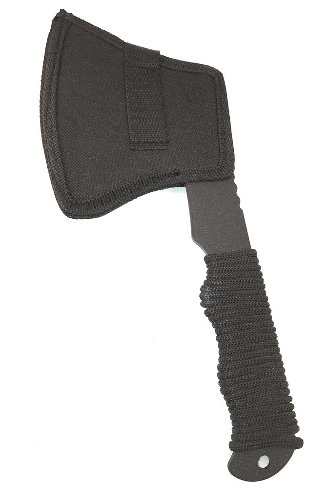 Acme Approved Black Survival Camping Axe with Paracord Handle - 10 Inches Overall