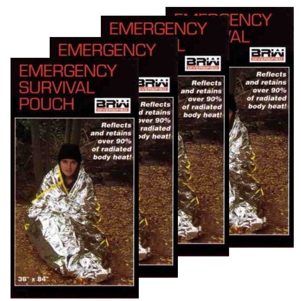 BRW Emergency Survival Pouch - 4 Pack