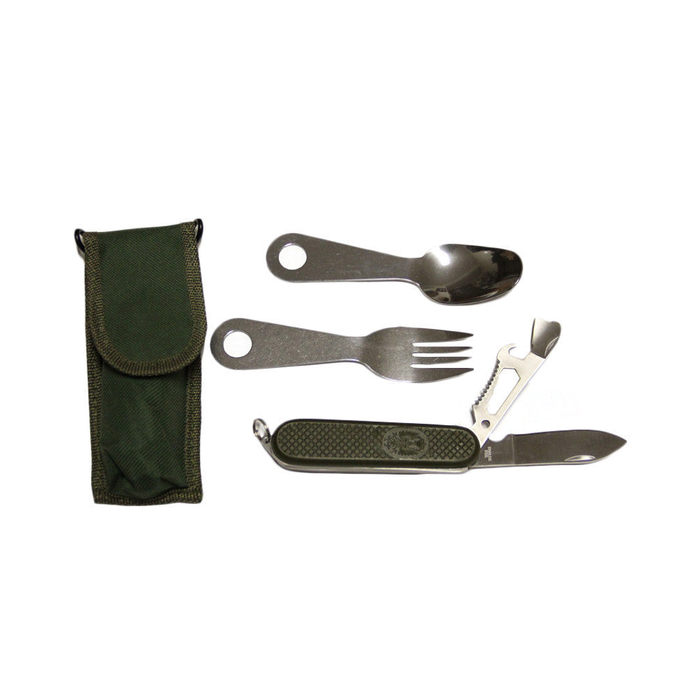 9 function eating utensil set with OD nylon sheath