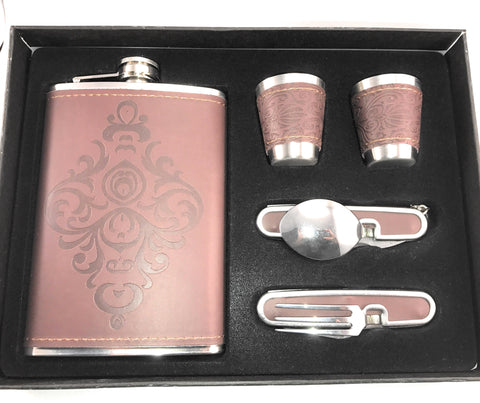 Premium 9 oz Soft Touch Leather Wrap Flask Gift Set w/Spoon&Fork Multitool