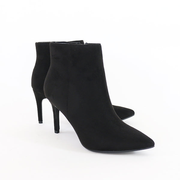 acai black vegan suede pointy toe ankle boots booties
