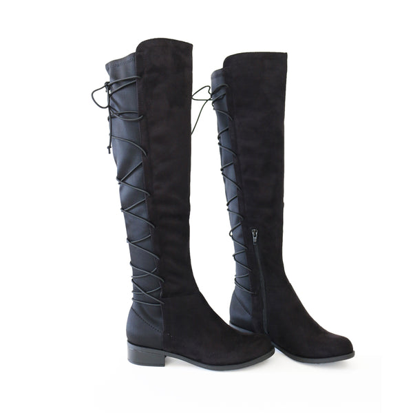 airship black over knee high boots