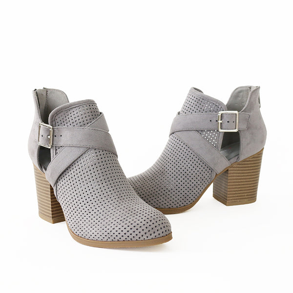 apart gray perforated buckle strap booties