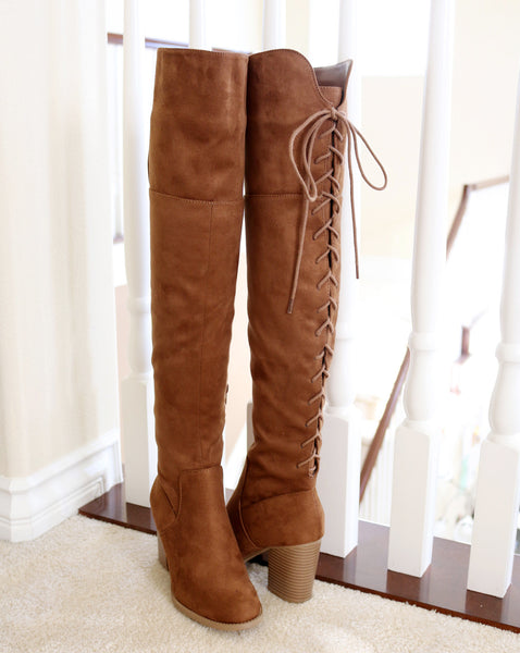 aspen-chestnut suede over the knee boots