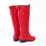 ballon red vegan suede knee high boots