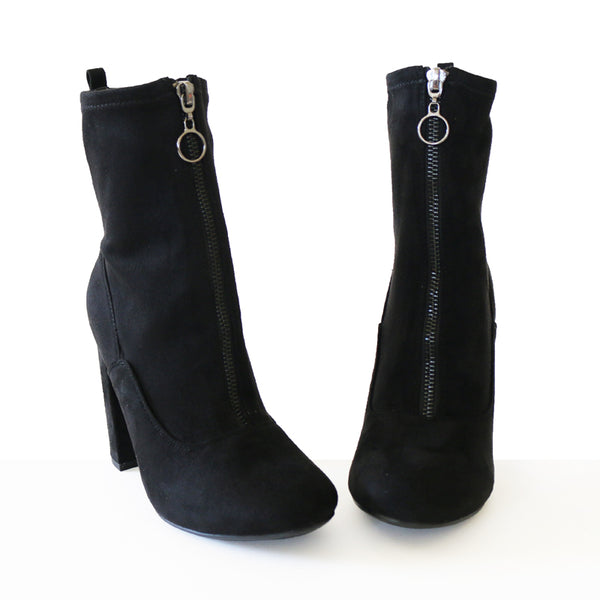 blumen black stretch suede booties