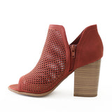 caster rust perforated bootie sandal