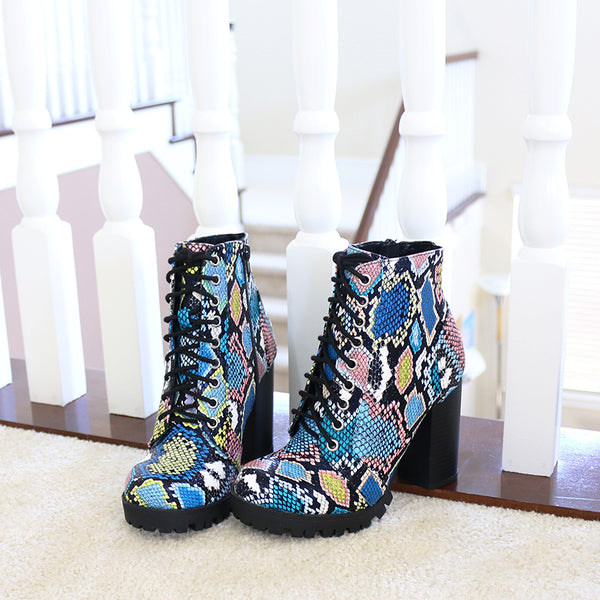 chalet snakeprint lace up lug sole ankle boots booties
