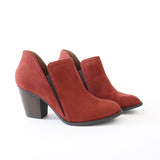 coin rust vegan suede booties