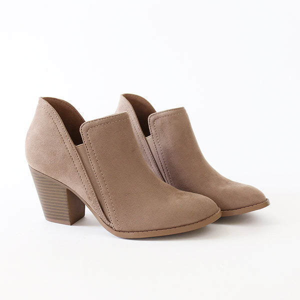 coin taupe vegan suede booties