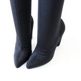 cotton-black-lycra-over the knee boots