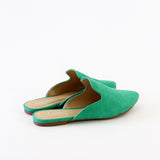 design emerald green vegan suede mule loafer