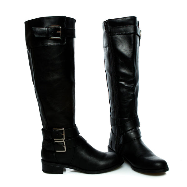 doric black knee high rider boots
