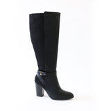 earthy black vegan suede leather knee high boots