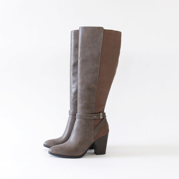 earthy taupe vegan suede leather knee high boots