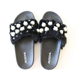 eyeball-fur-beads-slipper-sandal-free shipping