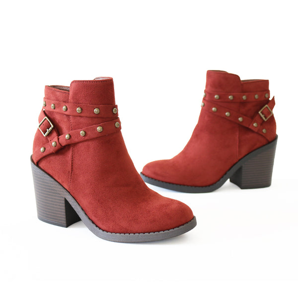 fly-rust vegan suede booties