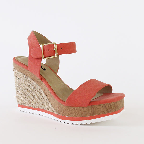 issue coral neutral wood jute wedge espadrille