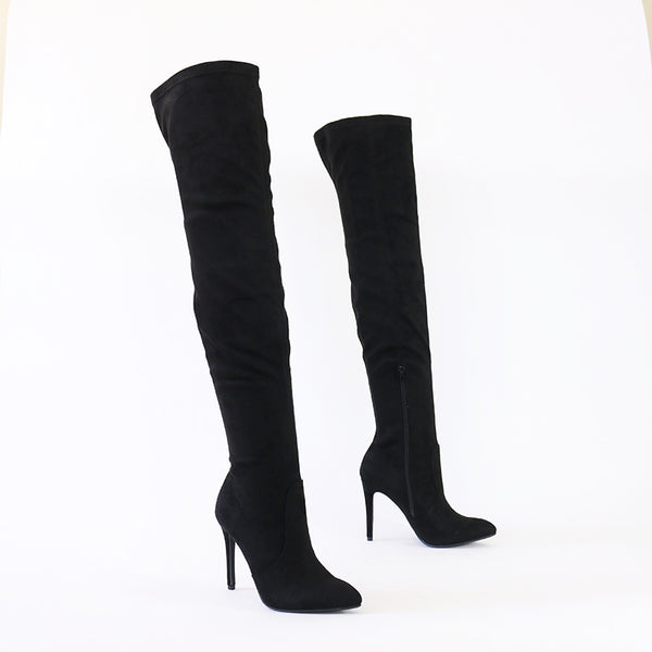 josh black over the knee stretch boots