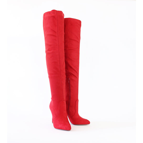 josh lipstick red over the knee stretch boots