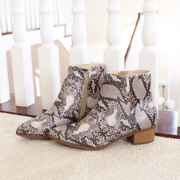 kimbo cream animal print vegan leather ankle boots booties