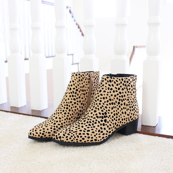 kimbo neutral animal print vegan suede ankle boots booties