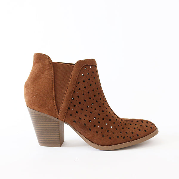 kristen tan perforated booties
