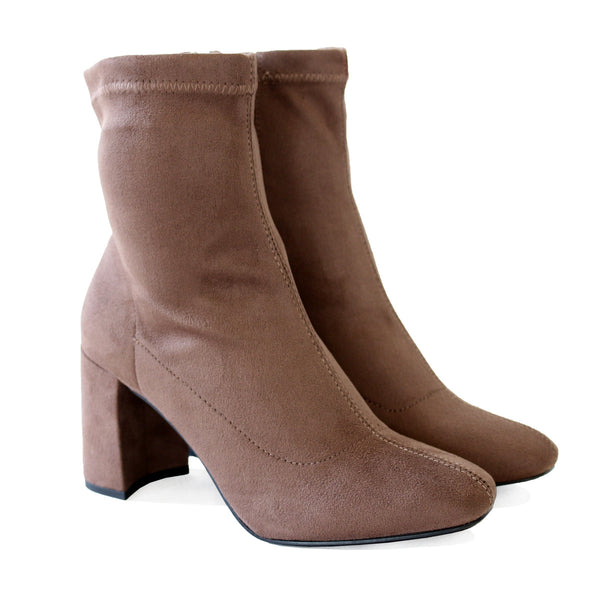 leaf taupe stretch ankle boots