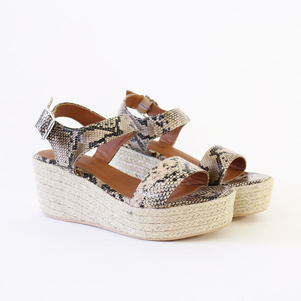 luthor neutral python vegan leather platform wedge espadrille sandal