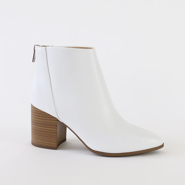 mars white pointy toe ankle boots booties