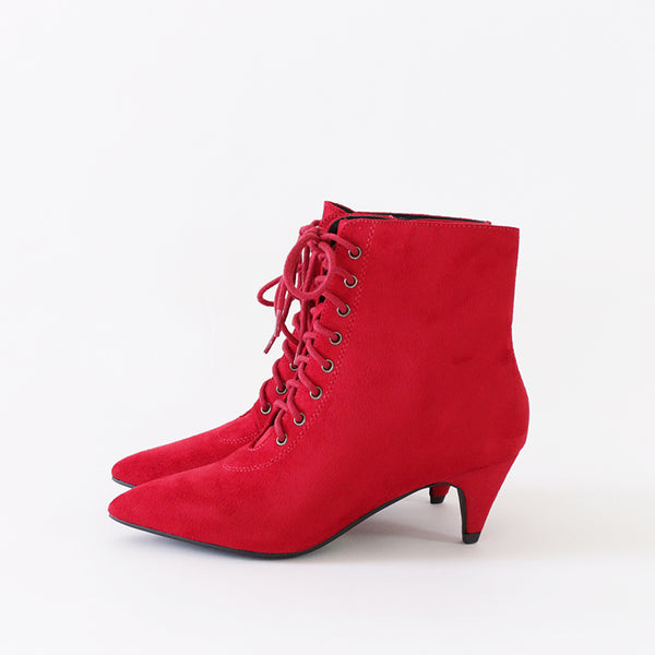 red ankle bottes with laces