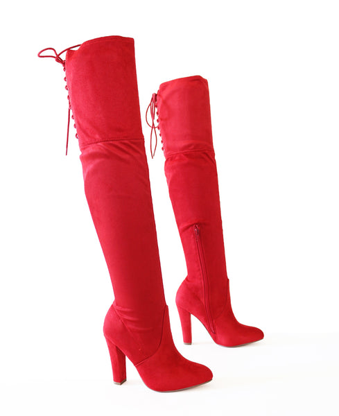 obey-red-over the knee boots