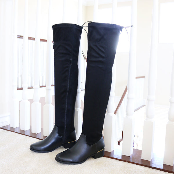 opticblack over knee stretch vegan suede leather boots