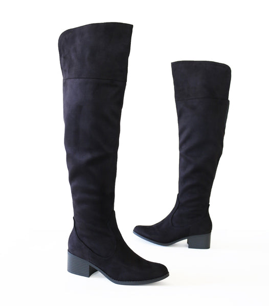 palmela-black-micro suede-over knee boots
