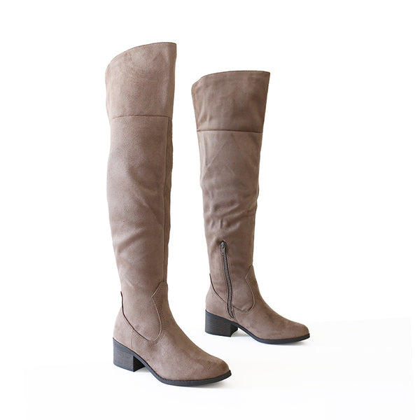 palmela taupe micro suede over knee boots