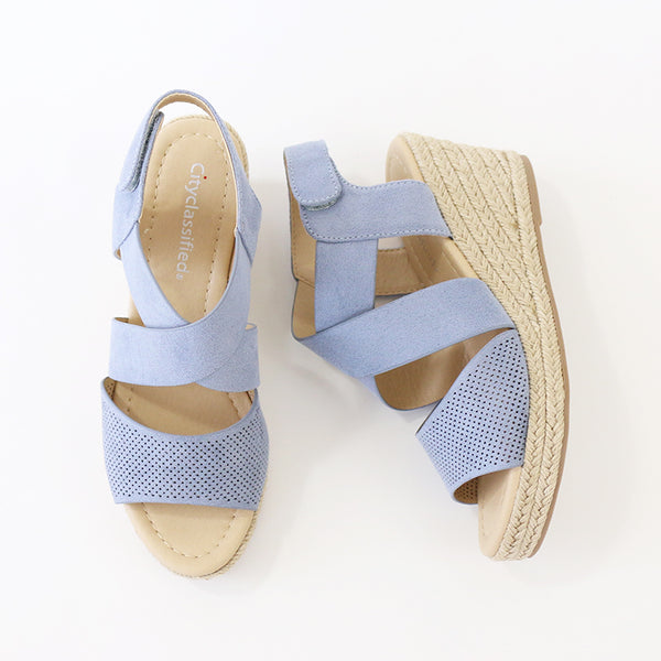 preview blue perforated espadrille sandal