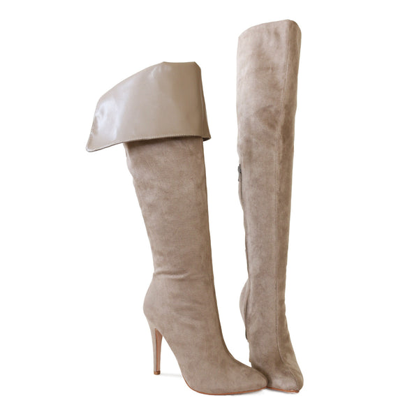 sandra-clay-suede-stretch-over the knee high-boots