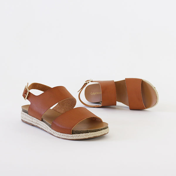 scotch tan sling back footbed espadrille sandal