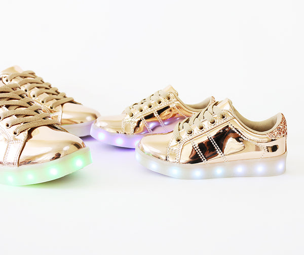 skyer-02 metallic rose gold LEDs lit sole sneakers